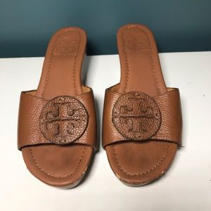 Tory Burch Patti Wedge Sandals Slides wood 38 8